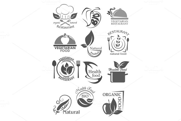 Organic Food And Vegetarian Nutrition Icon Set