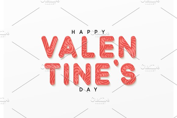Happy Valentine Day Paper Art In The Style Of Quilling Vector Illustration