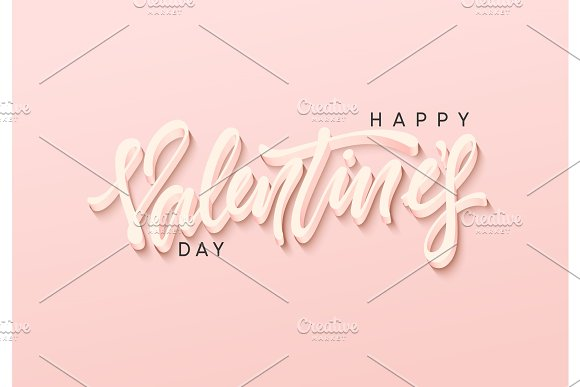 Happy Valentines Day vector text. Lettering design greeting card