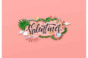 Happy valentine day. Paper art in the style of quilling. Vector illustration