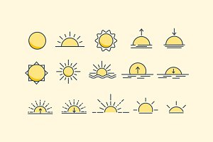 15 Sunset and Sunrise Icons