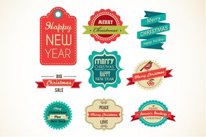 Christmas vintage labels & elements