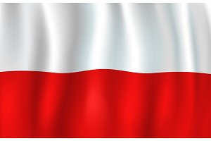 Vector 3D flag of Poland. Polish national symbol