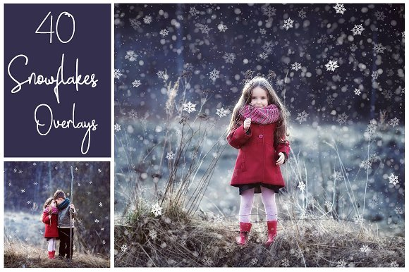 40 Dreamy Snowflakes PNG Overlays