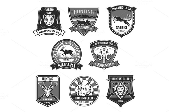 African safari animal hunting club badge set