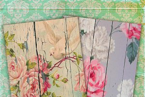 Shabby Chic Wood floral paper