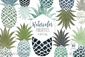 Teal & Navy Blue Pineapple Clipart