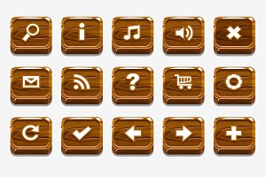 Wood buttons with different menu elements