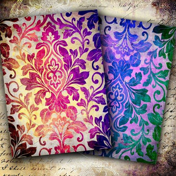 Watercolor butterflies & damask set