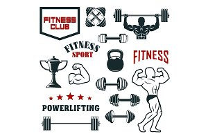 Fitness sport club, gym and bodybuilding icon set