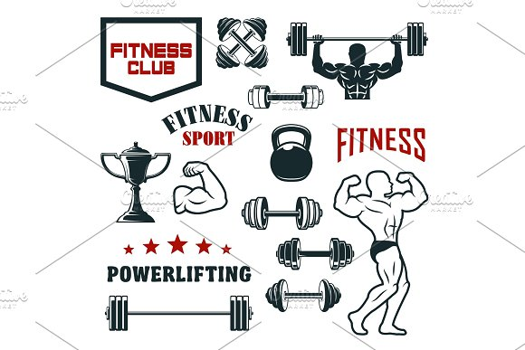 Fitness Sport Club Gym And Bodybuilding Icon Set