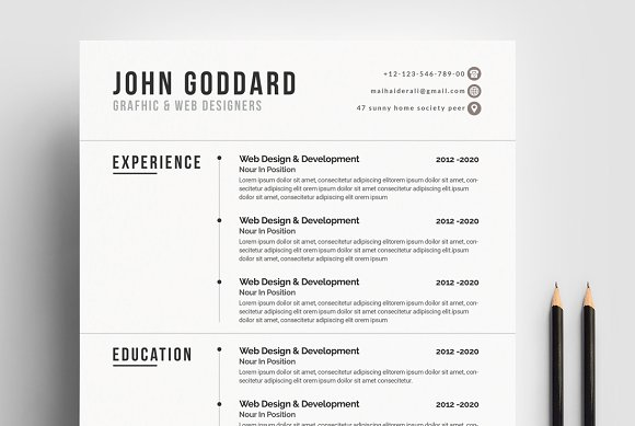 interactive resume cv template resume templates creative market