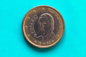 1 euro coin, European Union, Spain over green blue