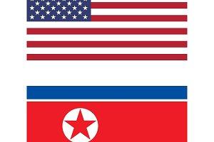 Flag of United States Of America and North Korea