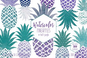 Fun Geometric Watercolor Pineapples