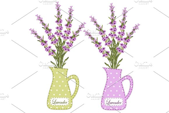 Set Of Retro Jugs With Roses As Applique In Shabby Chic Style