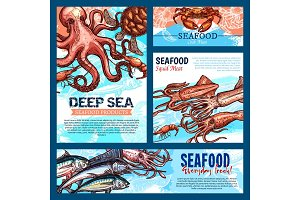Vector templates for seafood or fish food products