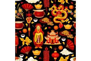 Chinese New Year holiday seamless pattern