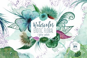 Teal & Purple Watercolor Floral Set