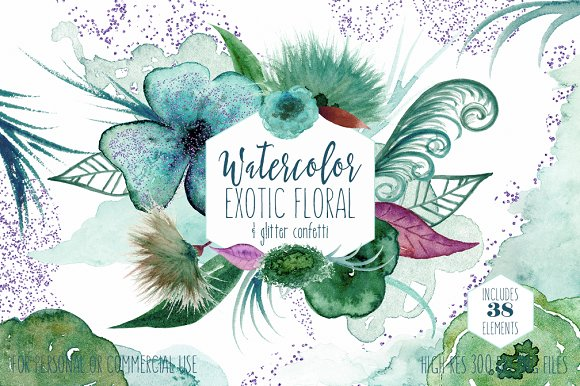 Teal & Purple Watercolor Floral Set