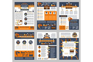 Vector posters house repair construction work tool