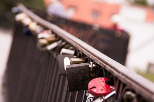 Romantical lock of love on bridge