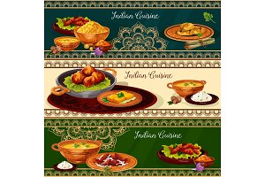 Indian cuisine spicy lunch dishes banner set