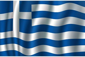 Flag of Greece 3d vector, greek blue, white banner