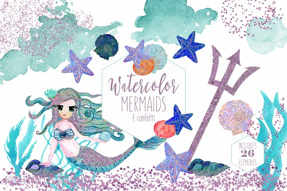 Cute Watercolor Mermaids & Glitter