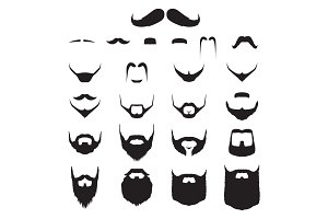 Set of Mustache and Beard Hipster