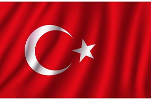 Vector 3D flag of Turkey. Turkish national symbol
