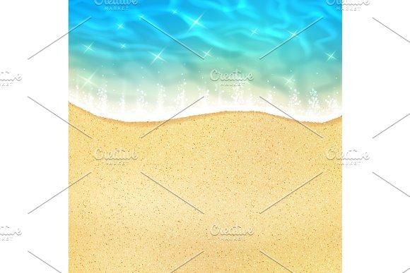 Vector sea beach or ocean shore sand and waves