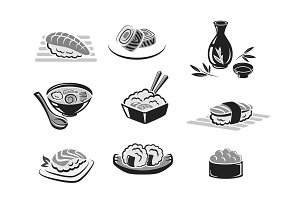 Vector icons set of sushi or seafood rolls