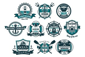 Sea anchor and boat helm nautical badge set