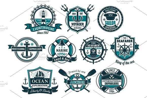 Sea Anchor And Boat Helm Nautical Badge Set