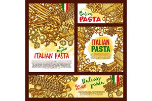 Vector pasta sketch posters for Italian restaurant