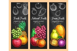 Vector sketch banners of fresh exotic fruits