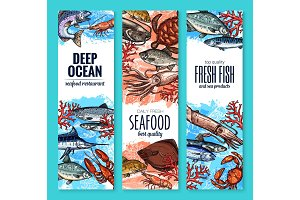 Vector banners of seafood fish products sketch
