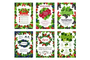 Vector berry posters fresh natural garden berries