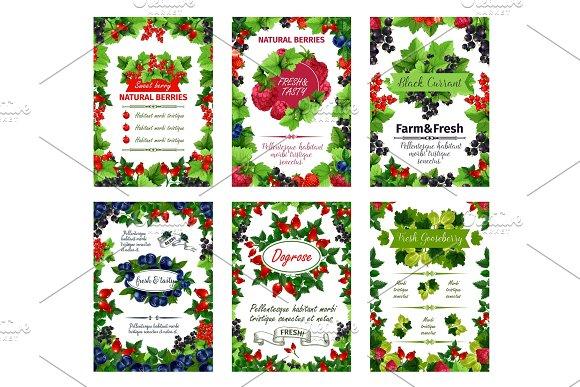 Vector Berry Posters Fresh Natural Garden Berries