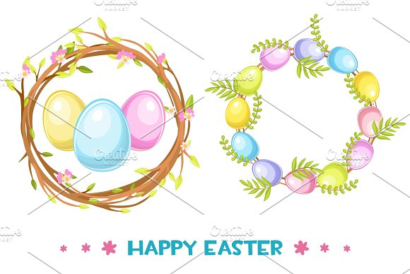 Vector Circle Frame With Easter Eggs And Tree Branch Happy Easter