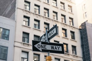 One way arrow sign in New York City.