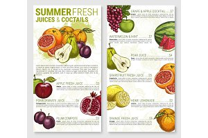 Vector menu sketch for tropical exotic fruit juices