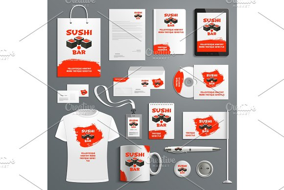 Corporate identity vector items Japanese sushi