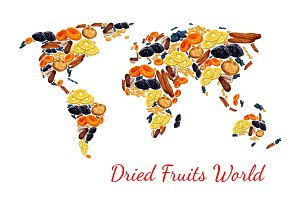 Vector map of dried fruits snacks raisins, prunes