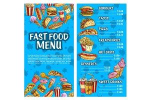 Fast food burger and drink menu sketch banner set