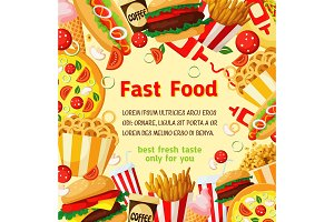 Fast food meal restaurant vector fastfood poster
