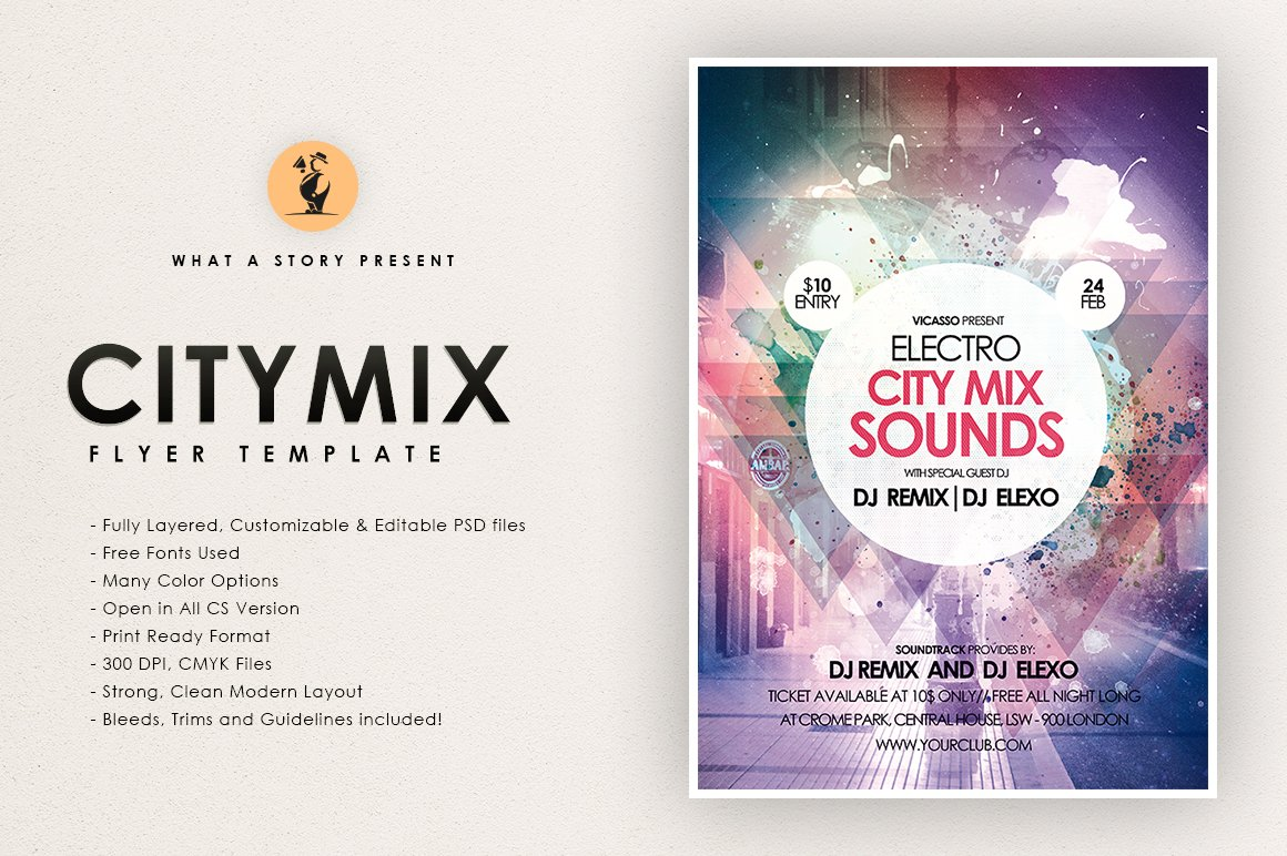 Electro City Mix 2 ~ Flyer Templates ~ Creative Market