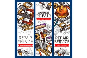 Vector sketch banners of repair service work tools