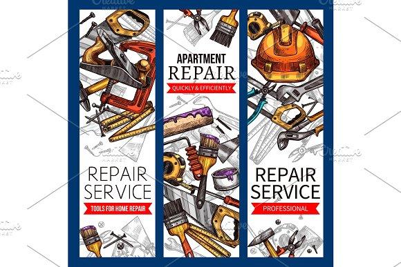 Vector Sketch Banners Of Repair Service Work Tools